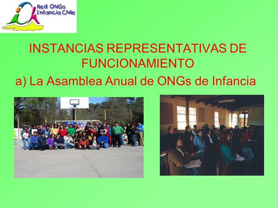 INSTANCIAS REPRESENTATIVAS DE FUNCIONAMIENTO b) La Mesa Nacional de ONGs de Infancia La Mesa Nacional de ONGs es electa por un periodo de 2 años en la Asamblea Nacional.