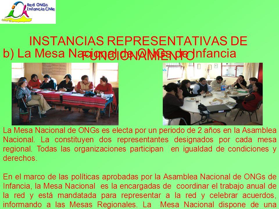 c) Las Mesas Regionales de ONGs de Infancia INSTANCIAS REPRESENTATIVAS DE FUNCIONAMIENTO