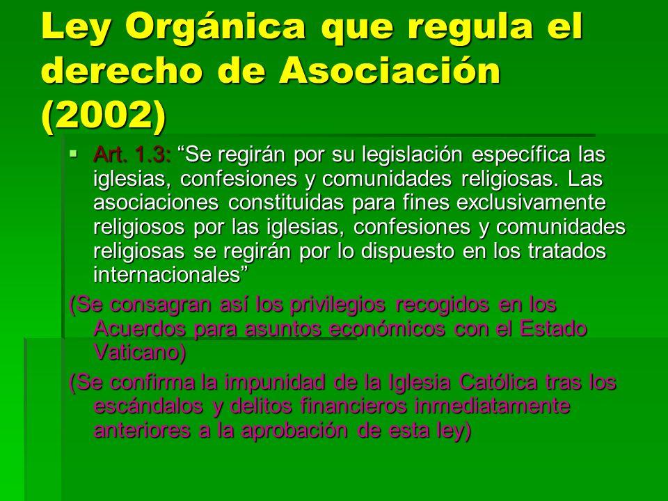 Ley Orgánica que regula el derecho de Asociación (2002) Art. 1.3: Se regirán por su legislación específica las iglesias, confesiones y comunidades rel