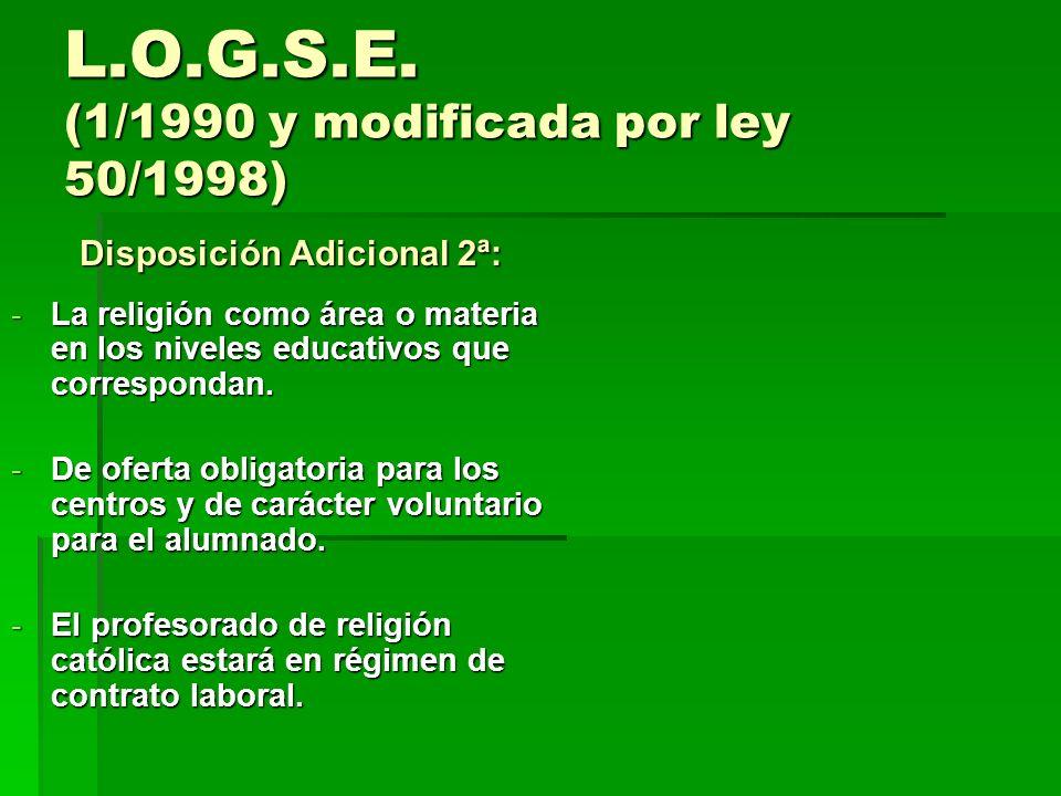 L.O.G.S.E. (1/1990 y modificada por ley 50/1998) Disposición Adicional 2ª: Disposición Adicional 2ª: -La religión como área o materia en los niveles e