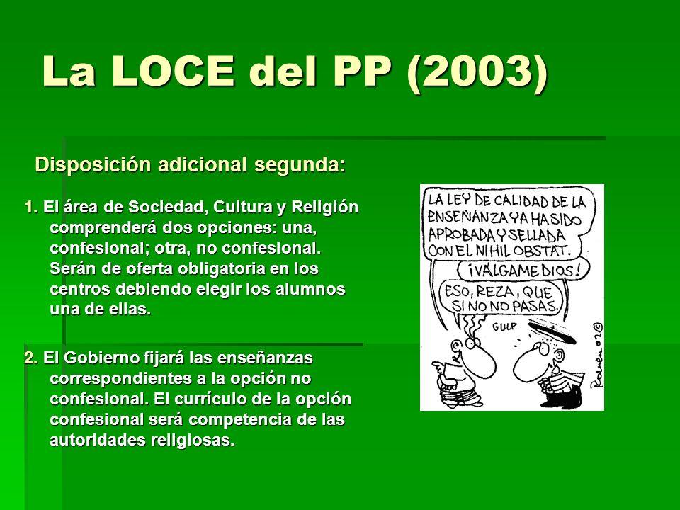 La LOCE del PP (2003) Disposición adicional segunda: Disposición adicional segunda: 1. El área de Sociedad, Cultura y Religión comprenderá dos opcione