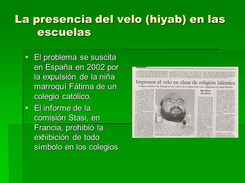 La presencia del velo (hiyab) en las escuelas El problema se suscita en España en 2002 por la expulsión de la niña marroquí Fátima de un colegio catól