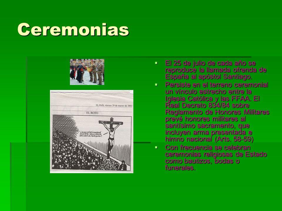 Ceremonias El 25 de julio de cada año se reproduce la llamada ofrenda de España al apóstol Santiago. El 25 de julio de cada año se reproduce la llamad