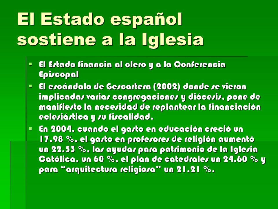 El Estado español sostiene a la Iglesia El Estado financia al clero y a la Conferencia Episcopal El Estado financia al clero y a la Conferencia Episco