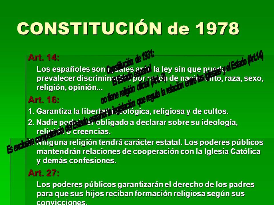 CONSTITUCIÓN de 1978 Art. 14: Los españoles son iguales ante la ley sin que pueda prevalecer discriminación por razón de nacimiento, raza, sexo, relig