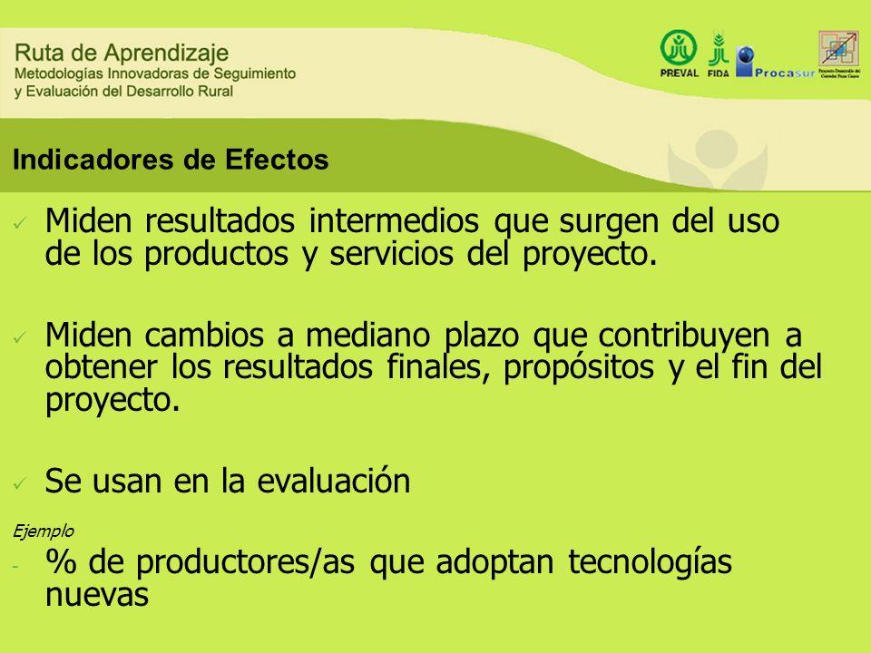 Indicadores de Efectos Miden resultados intermedios que surgen del uso de los productos y servicios del proyecto. Miden cambios a mediano plazo que co