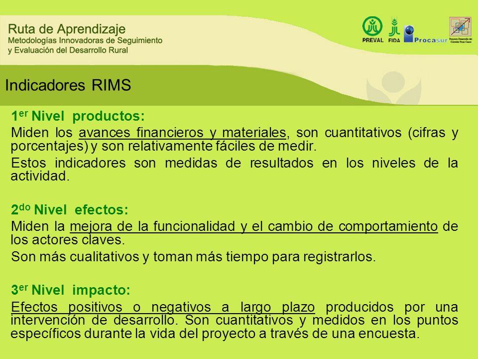 Indicadores RIMS 1 er Nivel productos: Miden los avances financieros y materiales, son cuantitativos (cifras y porcentajes) y son relativamente fácile