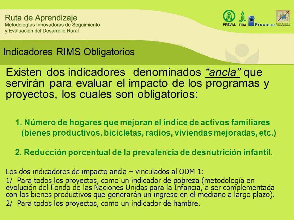 Indicadores RIMS Obligatorios Existen dos indicadores denominados ancla que servirán para evaluar el impacto de los programas y proyectos, los cuales