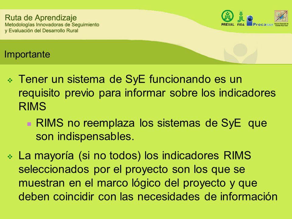 Importante Tener un sistema de SyE funcionando es un requisito previo para informar sobre los indicadores RIMS RIMS no reemplaza los sistemas de SyE q