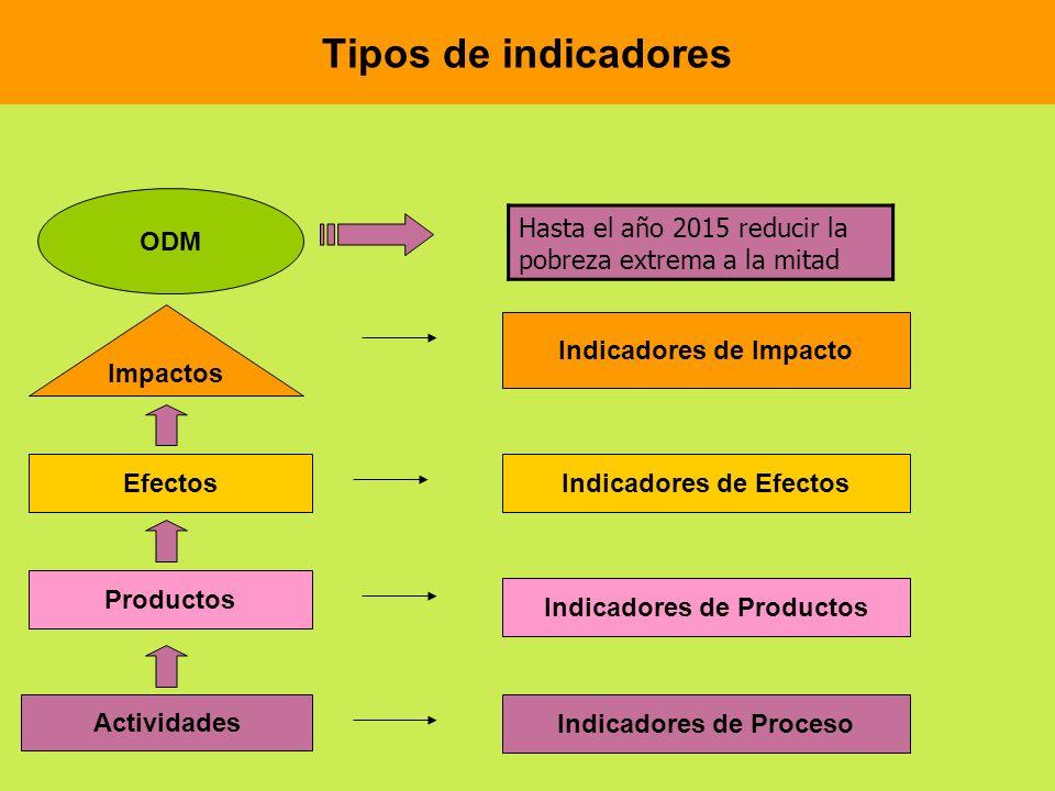Tipos de indicadores Hasta el año 2015 reducir la pobreza extrema a la mitad Actividades Productos Efectos ODM Impactos Indicadores de Impacto Indicad