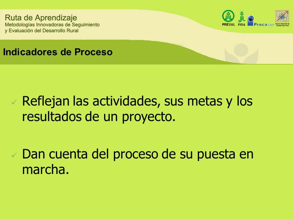Indicadores de Producto Miden los cambios inmediatos (logros) Miden los productos físicos (bienes y servicios) obtenidos con las actividades del proyecto.
