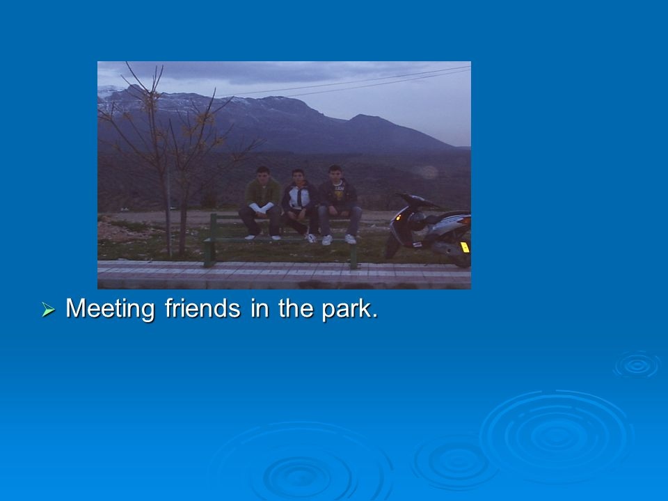 Meeting friends in the park. Meeting friends in the park.