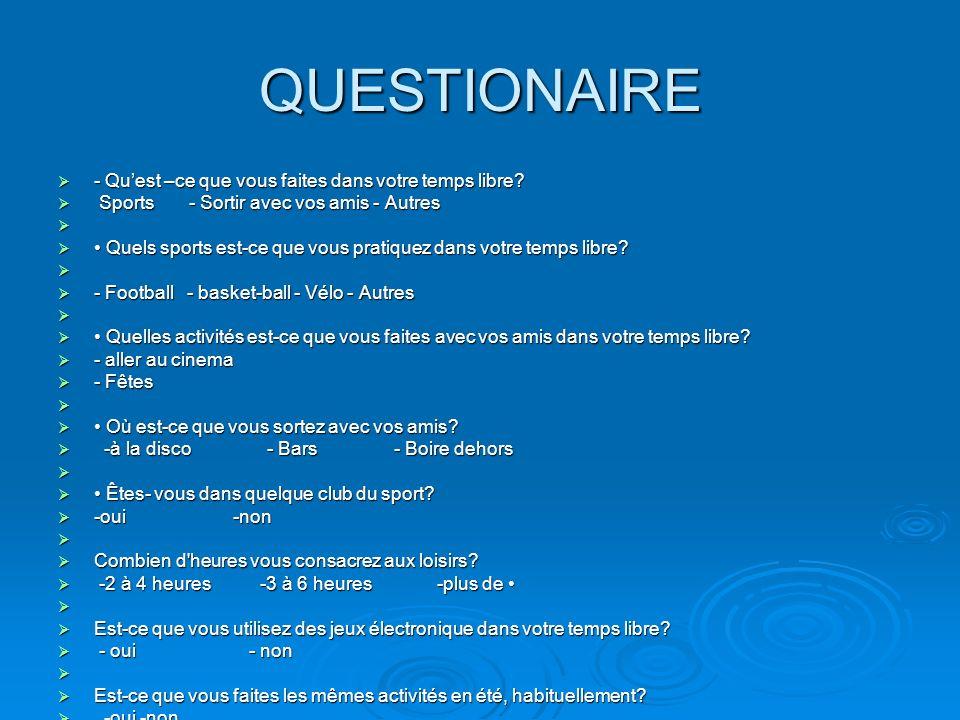 QUESTIONAIRE - Quest –ce que vous faites dans votre temps libre? - Quest –ce que vous faites dans votre temps libre? Sports - Sortir avec vos amis - A