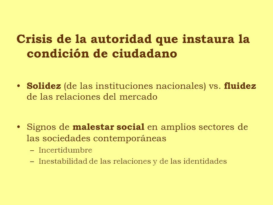 Crisis de la autoridad que instaura la condición de ciudadano Solidez (de las instituciones nacionales) vs. fluidez de las relaciones del mercado Sign