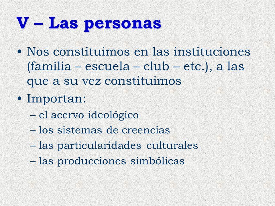 V – Las personas Nos constituimos en las instituciones (familia – escuela – club – etc.), a las que a su vez constituimos Importan: –el acervo ideológ
