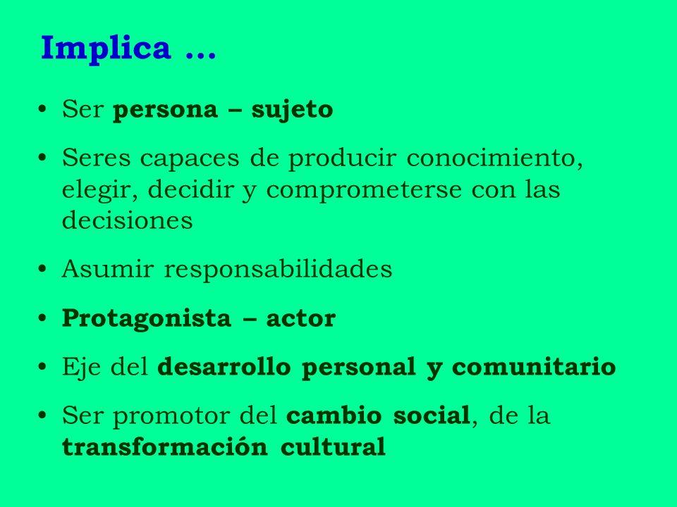 Implica … Ser persona – sujeto Seres capaces de producir conocimiento, elegir, decidir y comprometerse con las decisiones Asumir responsabilidades Pro