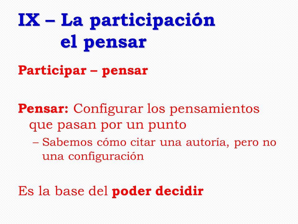 IX – La participación el pensar Participar – pensar Pensar: Configurar los pensamientos que pasan por un punto –Sabemos cómo citar una autoría, pero n