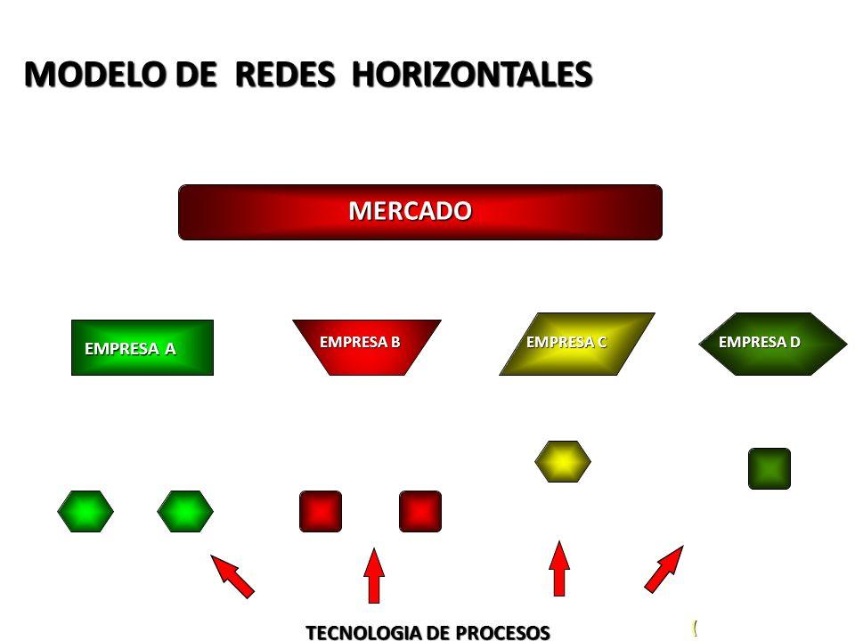 MODELO DE REDES HORIZONTALES MERCADO EMPRESA A EMPRESA B EMPRESA C EMPRESA D TECNOLOGIA DE PROCESOS (