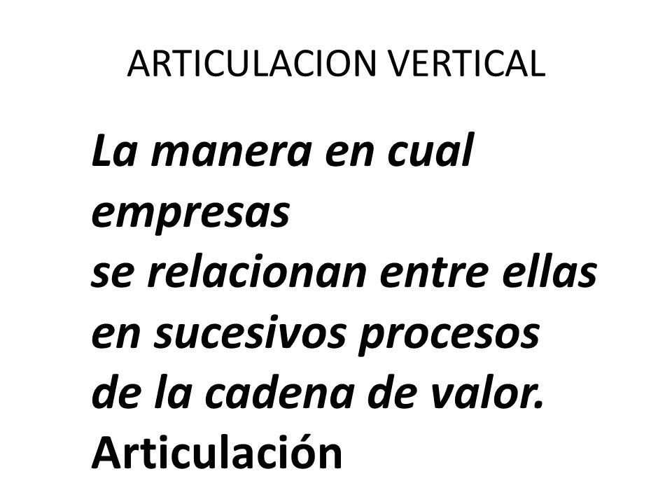 ARTICULACION VERTICAL La manera en cual empresas se relacionan entre ellas en sucesivos procesos de la cadena de valor. Articulación