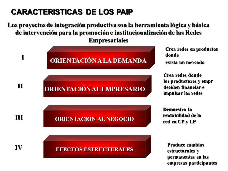 ORIENTACIÓN AL EMPRESARIO ORIENTACION AL NEGOCIO EFECTOS ESTRUCTURALES II II Crea redes donde los productores y empr deciden financiar e impulsar las