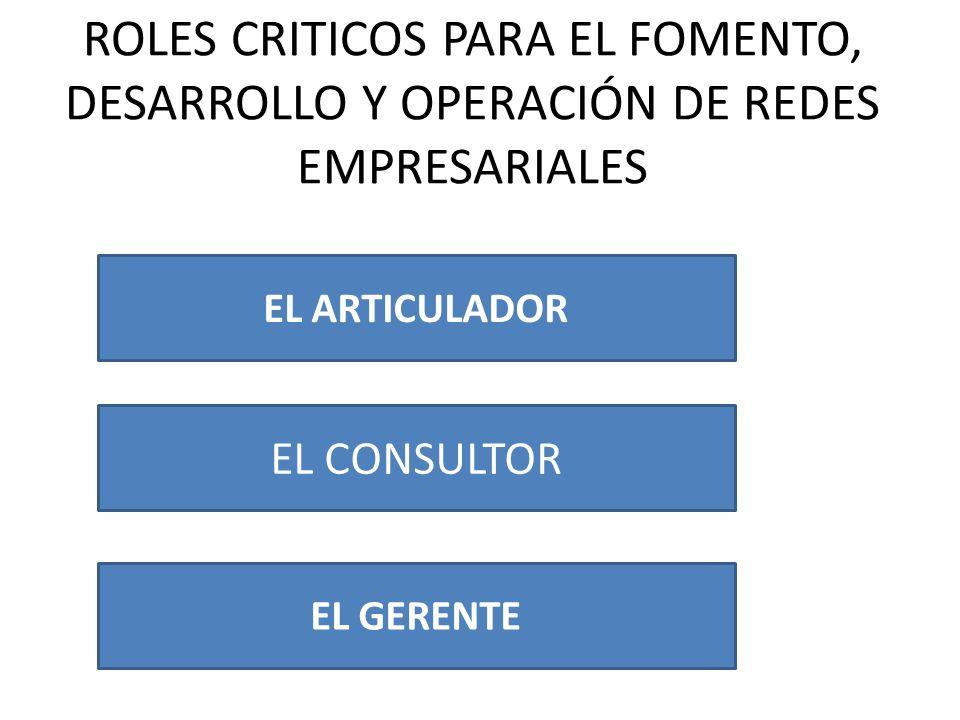 ROLES CRITICOS PARA EL FOMENTO, DESARROLLO Y OPERACIÓN DE REDES EMPRESARIALES EL ARTICULADOR EL CONSULTOR EL GERENTE