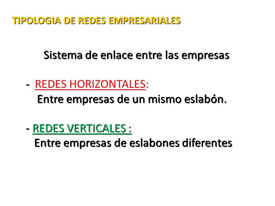 TIPOLOGIA DE REDES EMPRESARIALES TIPOLOGIA DE REDES EMPRESARIALES Sistema de enlace entre las empresas - - REDES HORIZONTALES: Entre empresas de un mi
