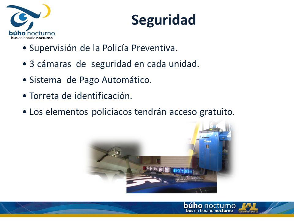 Seguridad Supervisión de la Policía Preventiva. 3 cámaras de seguridad en cada unidad. Sistema de Pago Automático. Torreta de identificación. Los elem