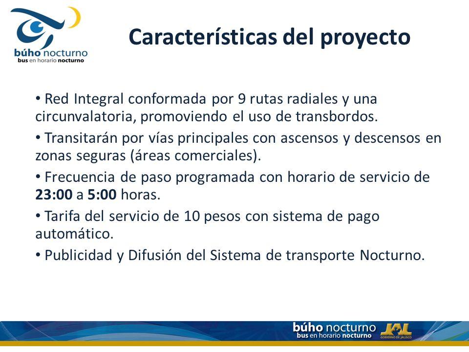 Características del proyecto Red Integral conformada por 9 rutas radiales y una circunvalatoria, promoviendo el uso de transbordos.