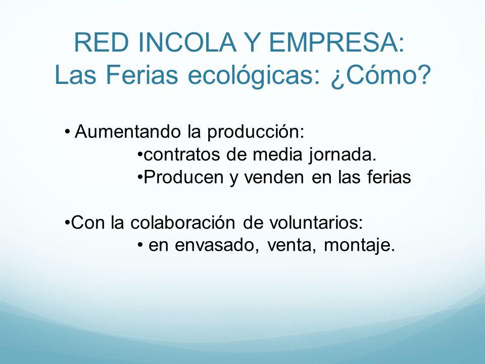 RED INCOLA Y EMPRESA: Las Ferias ecológicas: ¿Cómo? Aumentando la producción: contratos de media jornada. Producen y venden en las ferias Con la colab