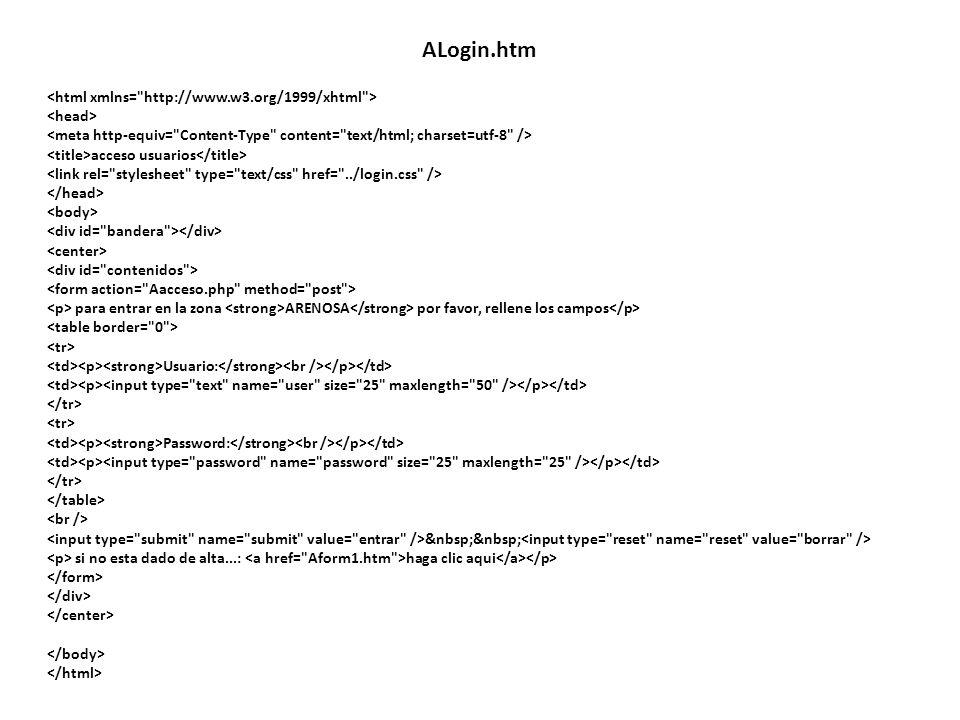 acceso usuarios para entrar en la zona ARENOSA por favor, rellene los campos Usuario: Password: si no esta dado de alta...: haga clic aqui ALogin.htm