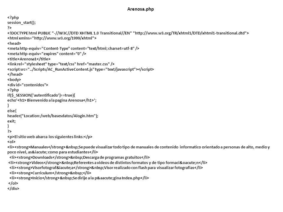 Arenosa.php <?php session_start(); ?> Arenosa1 <?php if($_SESSION['autentificado']==true){ echo' Bienvenido a la pagina Arenosa '; } else{ header(