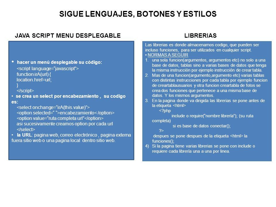 SIGUE LENGUAJES, BOTONES Y ESTILOS JAVA SCRIPT MENU DESPLEGABLE hacer un menú desplegable su código: function irA(url) { location.href=url; } se crea