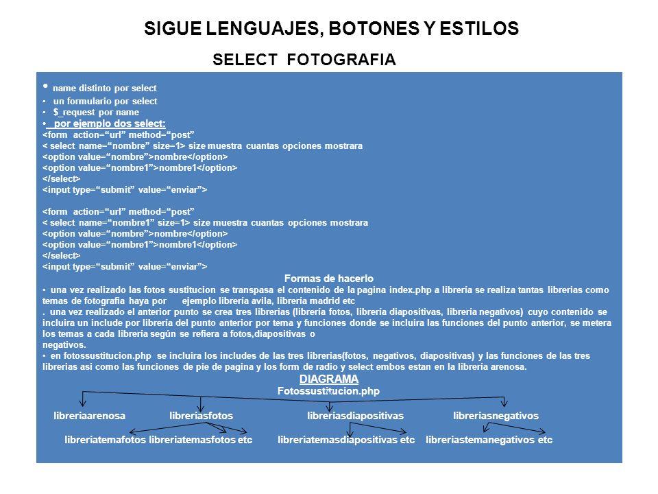 Sigue borrartabla.php BASE DE DATOS: arenosa asesoriaguerra lucergayarenosa TABLA: <?php if(isset($_REQUEST[ db ])) { $db=$_REQUEST[ db ]; $tabla=$_REQUEST[ tabla ]; //selecciono la db $seldb=@mysql_select_db($db) or die ( no se pudo conectar al db biblioteca ); //eliminamos la tabla $sql= drop table $tabla ; //enviamos la consulta $result=mysql_query($sql) or die( no se ha podido borrar la tabla ); if($result){ echo la tabla $tabla de la base de datos $db ha sido borrada ; } //cierra el enlace con mysql mysql_close($conn); } ?>