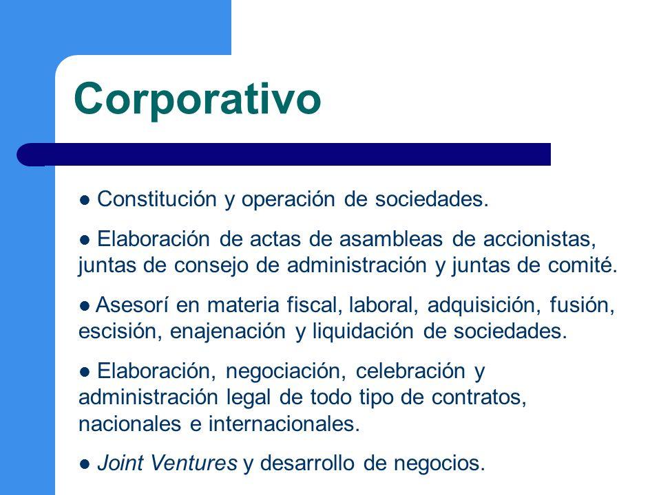 Regulatorio Materias: Propiedad Intelectual, Ambiental, Migratorio, Comercio Exterior, Competencia Econónomica, Inversión Extranjera, Protección al Consumidor, Energía y Telecomunicaicones.