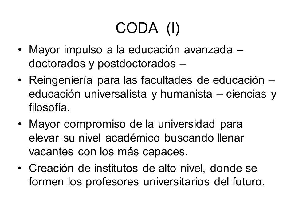 CODA (I) Mayor impulso a la educación avanzada – doctorados y postdoctorados – Reingeniería para las facultades de educación – educación universalista