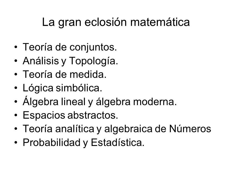 La gran eclosión matemática Teoría de conjuntos. Análisis y Topología. Teoría de medida. Lógica simbólica. Álgebra lineal y álgebra moderna. Espacios