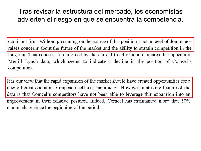 Tras revisar la estructura del mercado, los economistas advierten el riesgo en que se encuentra la competencia.