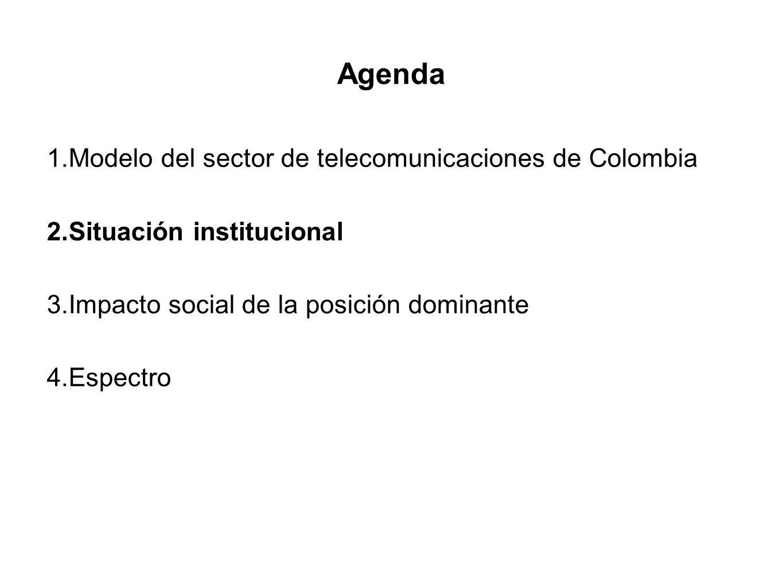 Agenda 1.Modelo del sector de telecomunicaciones de Colombia 2.Situación institucional 3.Impacto social de la posición dominante 4.Espectro