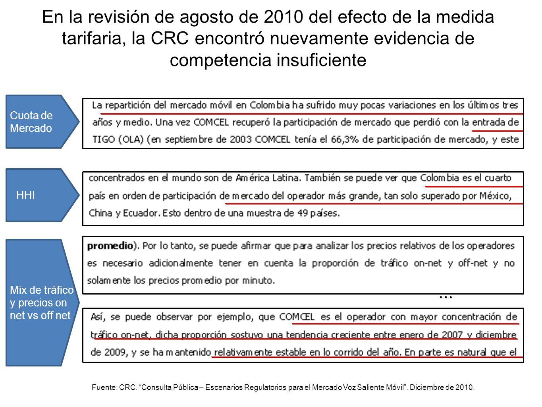 En la revisión de agosto de 2010 del efecto de la medida tarifaria, la CRC encontró nuevamente evidencia de competencia insuficiente Cuota de Mercado