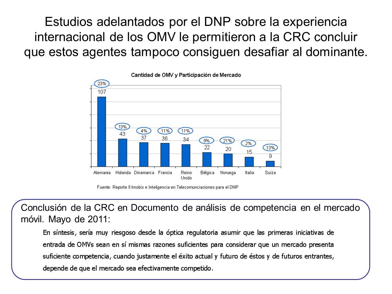 Estudios adelantados por el DNP sobre la experiencia internacional de los OMV le permitieron a la CRC concluir que estos agentes tampoco consiguen des