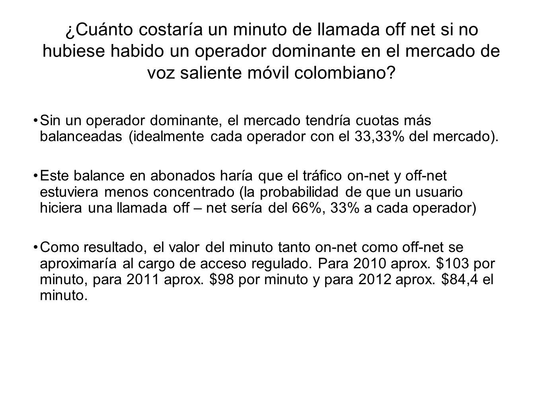 ¿Cuánto costaría un minuto de llamada off net si no hubiese habido un operador dominante en el mercado de voz saliente móvil colombiano? Sin un operad