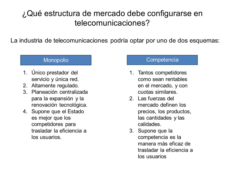 ¿Qué estructura de mercado debe configurarse en telecomunicaciones? La industria de telecomunicaciones podría optar por uno de dos esquemas: Monopolio