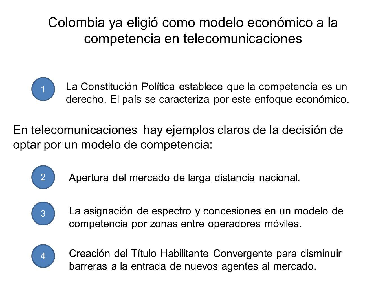 Colombia ya eligió como modelo económico a la competencia en telecomunicaciones 1 La Constitución Política establece que la competencia es un derecho.