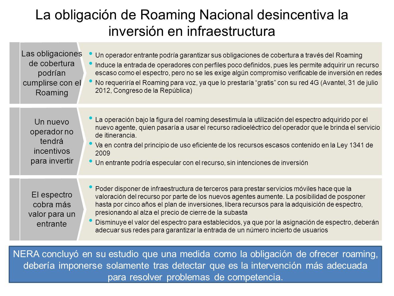 La obligación de Roaming Nacional desincentiva la inversión en infraestructura Un operador entrante podría garantizar sus obligaciones de cobertura a