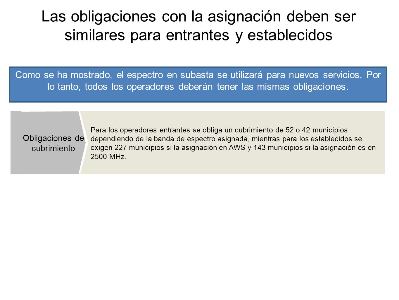 Las obligaciones con la asignación deben ser similares para entrantes y establecidos Para los operadores entrantes se obliga un cubrimiento de 52 o 42