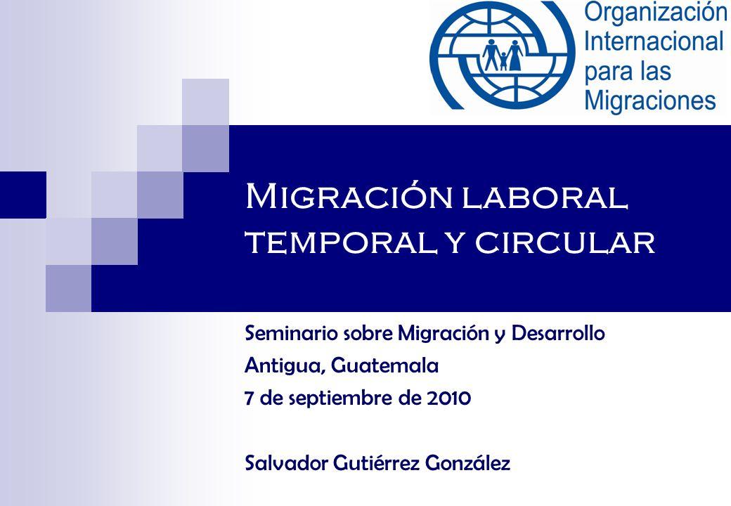 Migración laboral temporal y circular Seminario sobre Migración y Desarrollo Antigua, Guatemala 7 de septiembre de 2010 Salvador Gutiérrez González