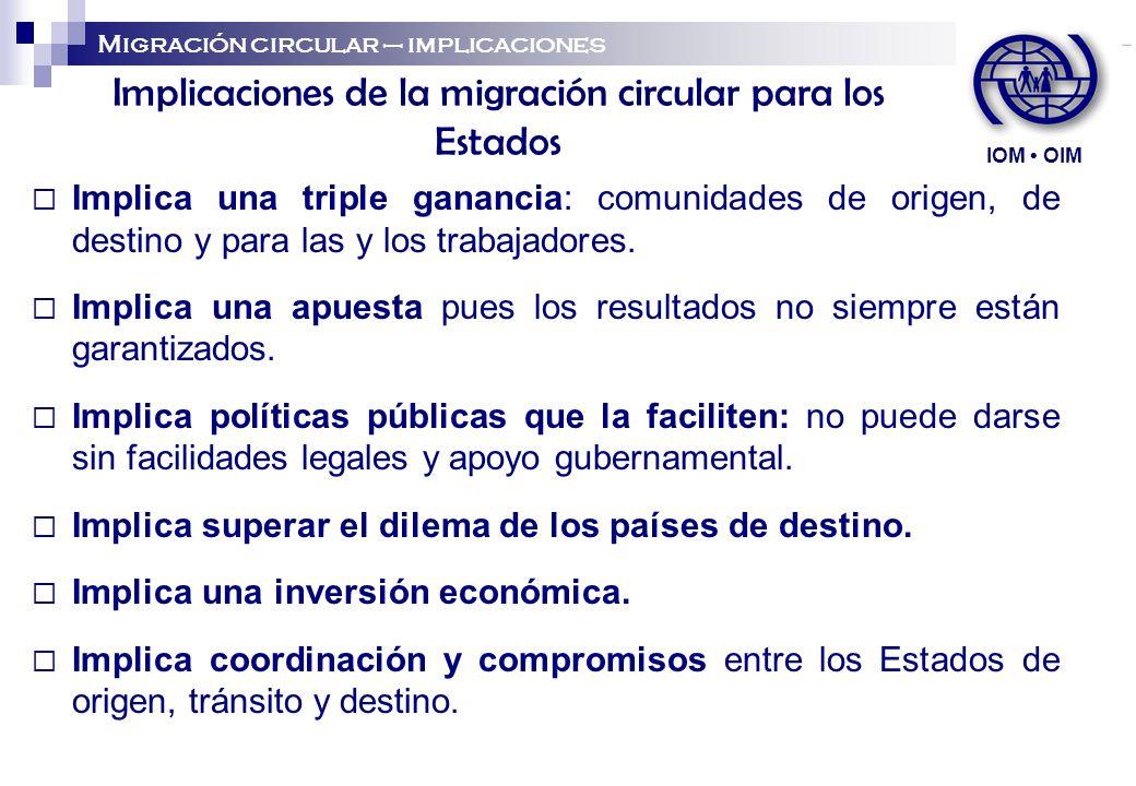 Implicaciones de la migración circular para los Estados Implica una triple ganancia: comunidades de origen, de destino y para las y los trabajadores.