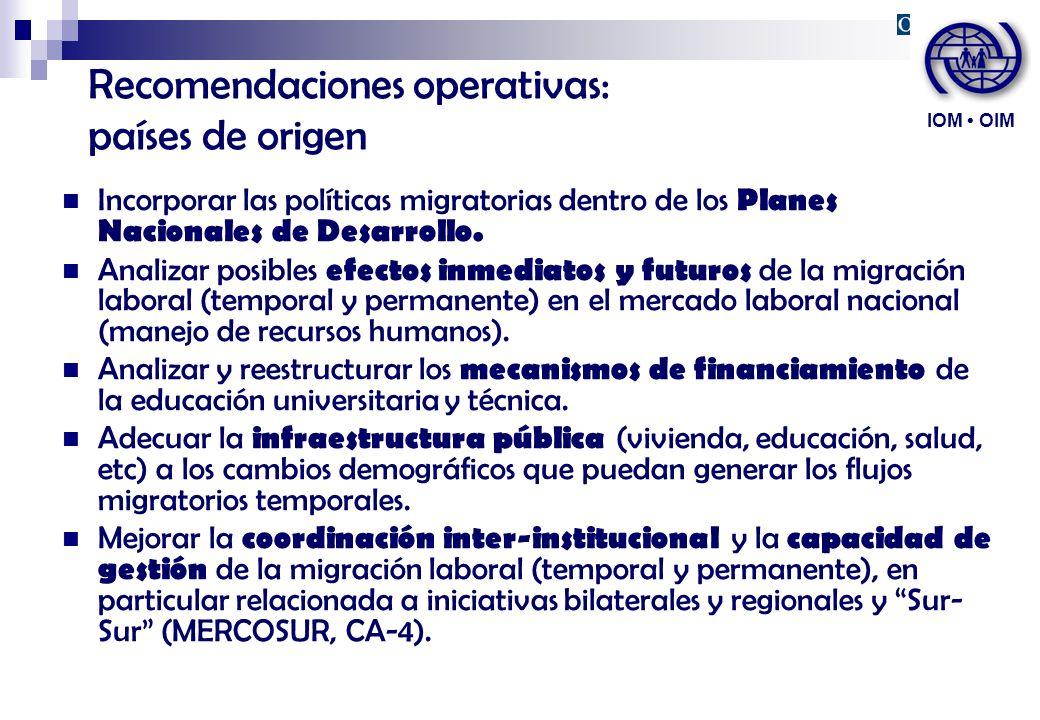 Recomendaciones operativas: países de origen Incorporar las políticas migratorias dentro de los Planes Nacionales de Desarrollo. Analizar posibles efe
