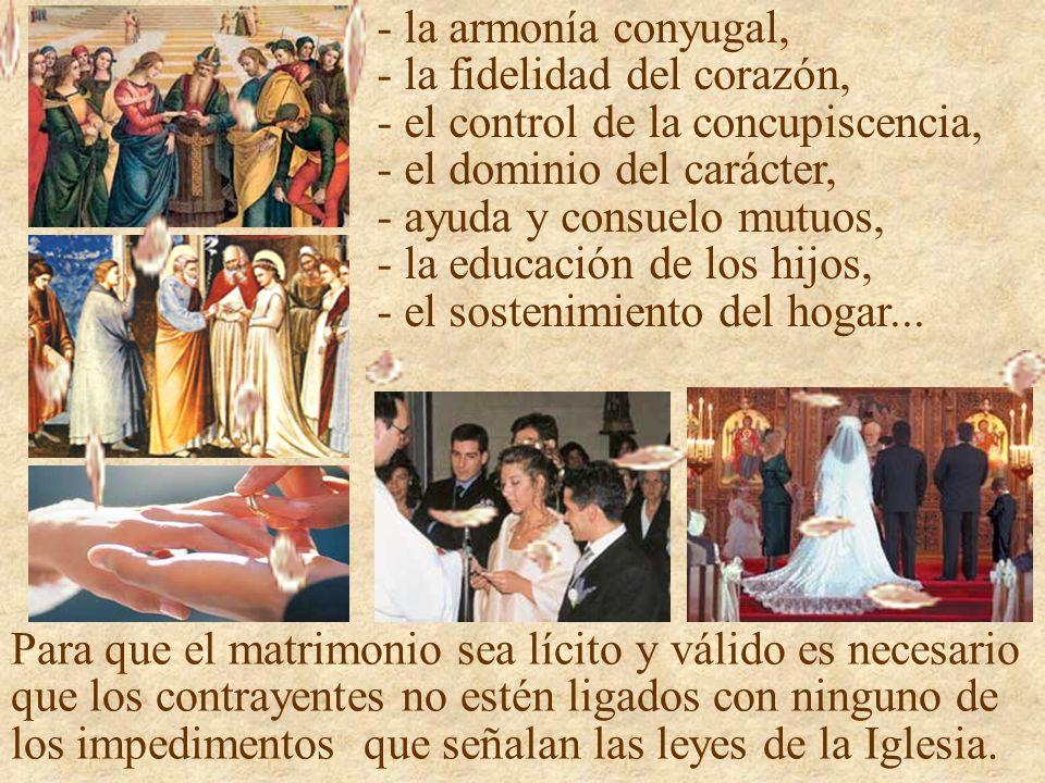 - la armonía conyugal, - la fidelidad del corazón, - el control de la concupiscencia, - el dominio del carácter, - ayuda y consuelo mutuos, - la educación de los hijos, - el sostenimiento del hogar...
