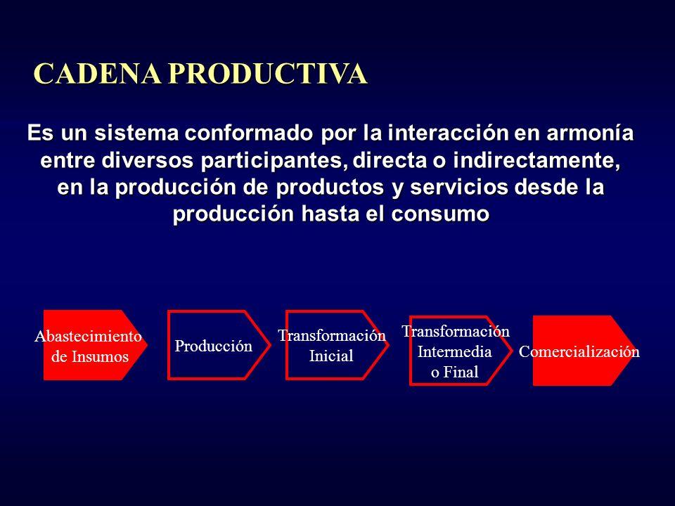 Distribución y Comercialización Confección de Prendas Fabricación de Tela Fabricación de Hilo Producción de Algodón EJEMPLO CADENA PRODUCTIVA TEXTIL - VESTUARIO